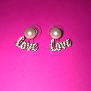 Origami Owl pearl studs with Love Halo 💗